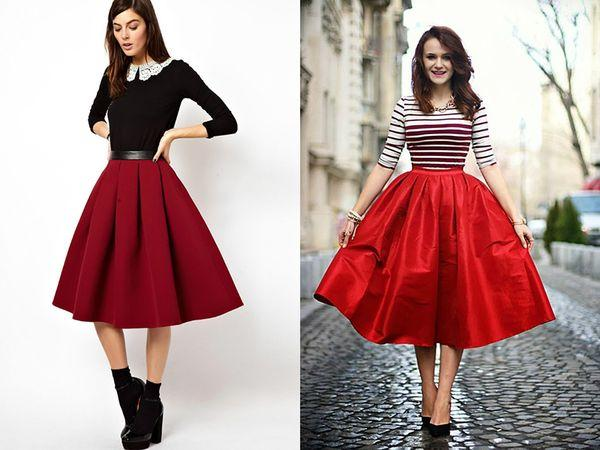 бордовая и красная юбка