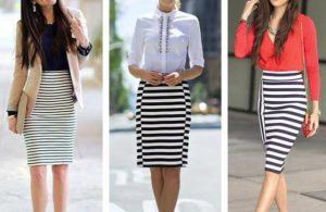Модные модели юбок в полоску, с чем носить и советы стилистов