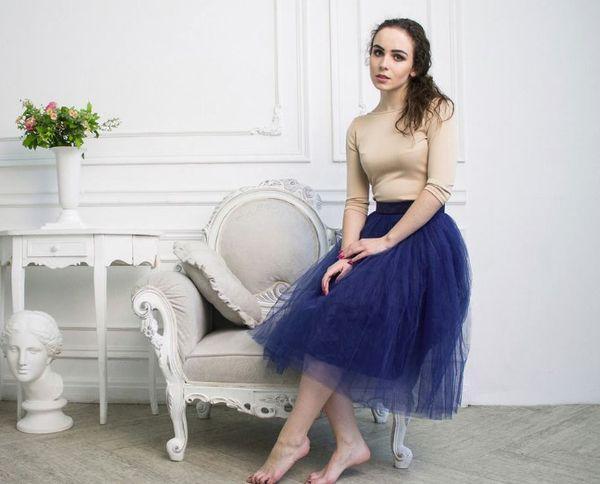 синяя юбка из фатина
