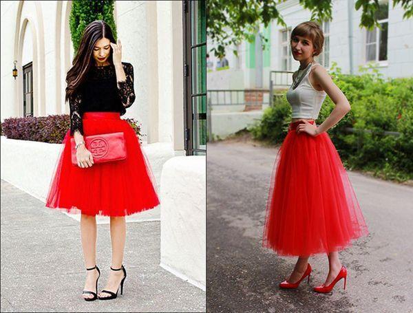 красная фатиновая юбка