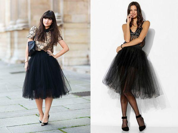 черная юбка из фатина