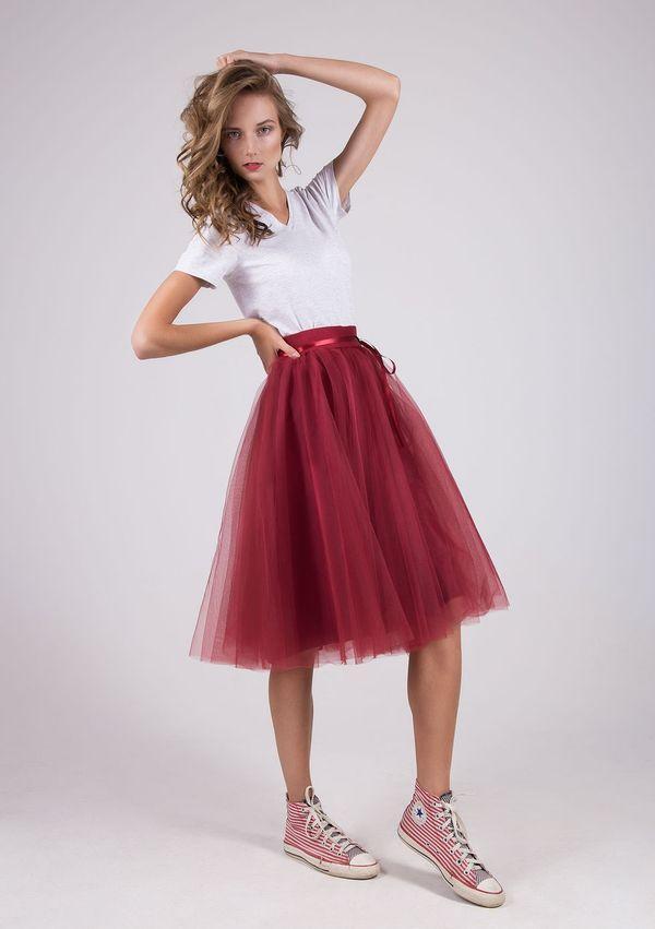 юбка из фатина бордовая