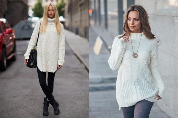 белый свитер удлиненный