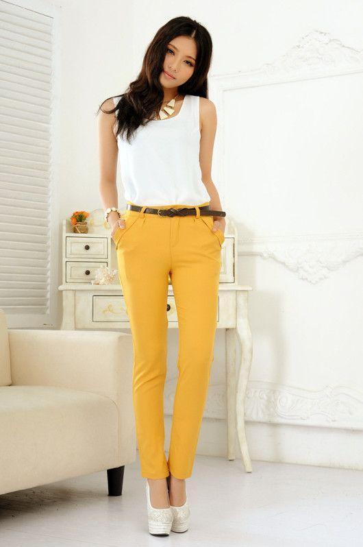брюки желтые
