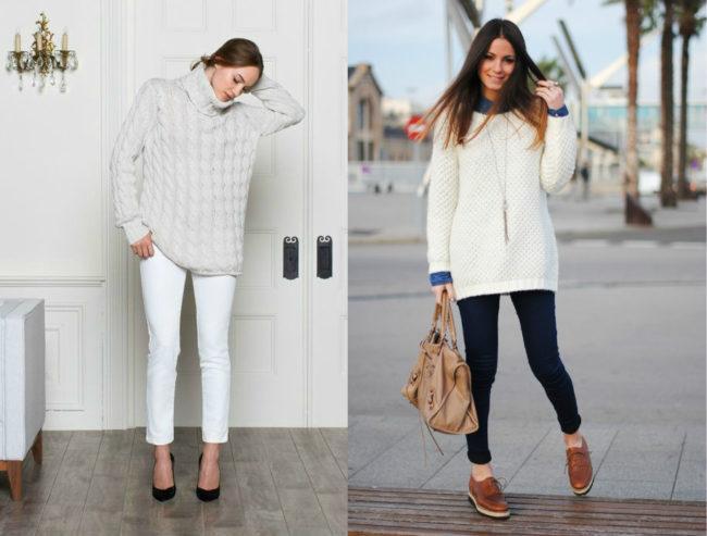 модные модели белого свитера
