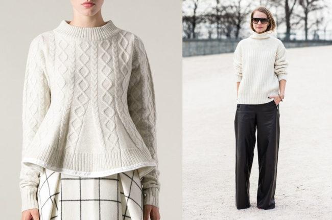 белый свитер образы