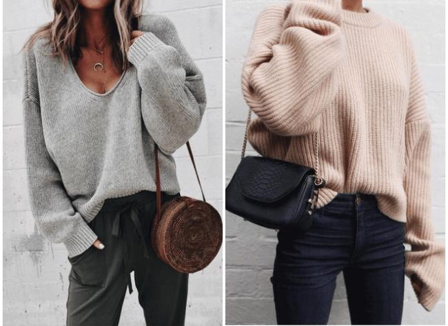 Стильные модели и фасоны женского свитера оверсайз, с чем носить