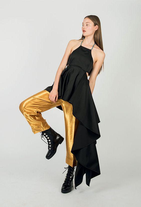 брюки из атласа