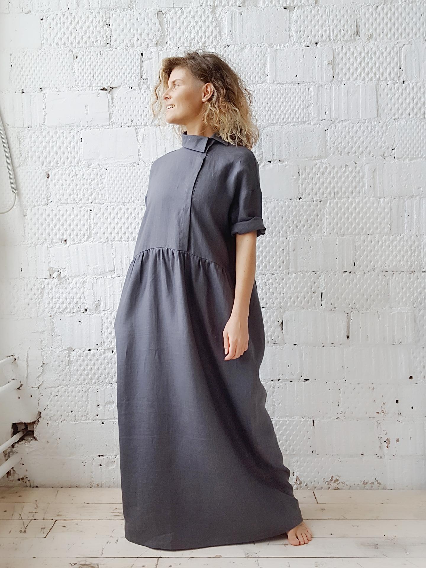 серое платье макси
