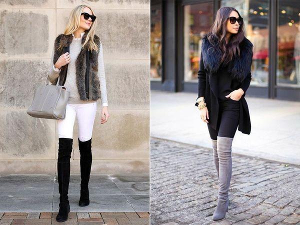 С чем носить ботфорты на высоком или низком каблуке, обзор стильных образов и моделей