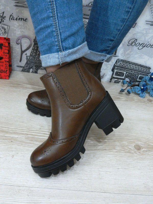 коричневые ботинки на тракторной платформе