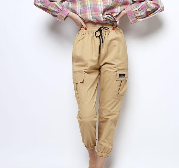 Бежевые штаны-карго женские