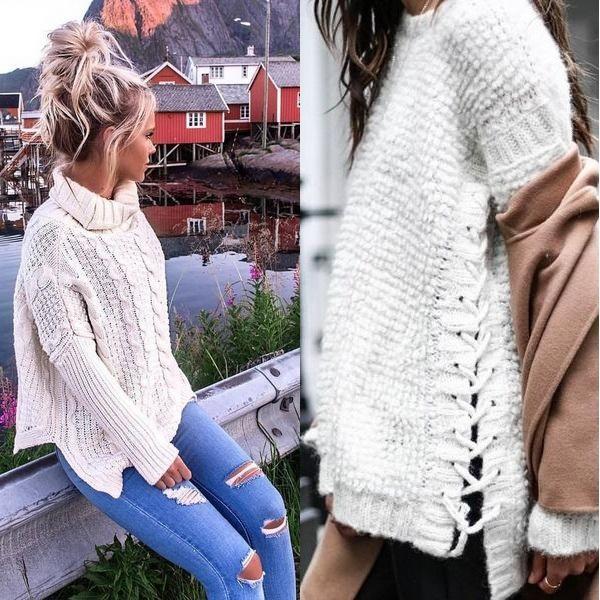 белый свитер на осень