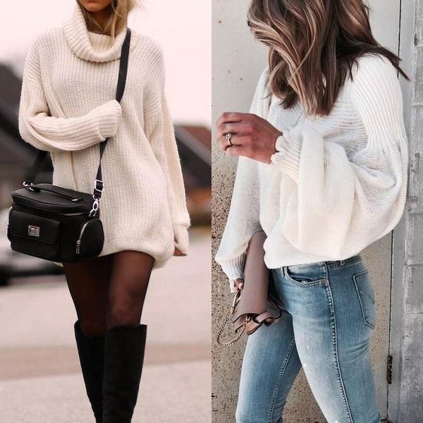белый свитер на зиму