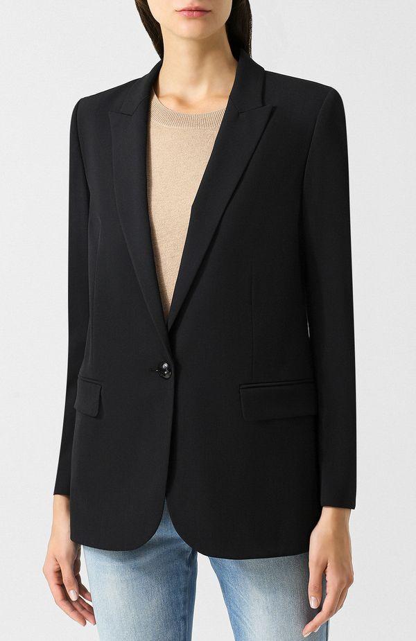 Прямой черный женский пиджак