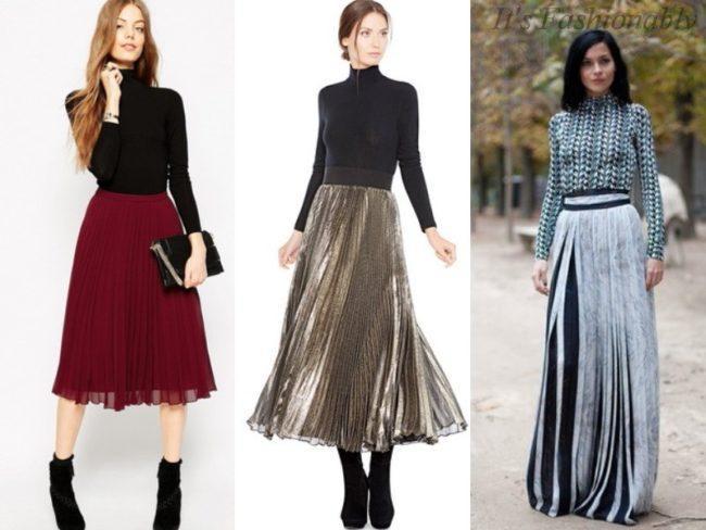 водолазка и нарядная юбка