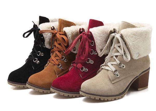 теплые сапоги на шнуровке