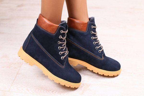 Ботинки женские зимние нубук синие