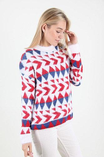 свитер с принтом геометрия