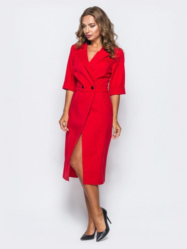 красное платье халат