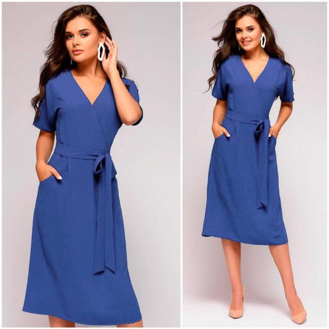 синее платье халат