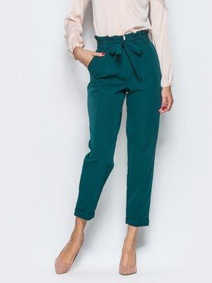 брюки с завышенной талией изумрудного цвета