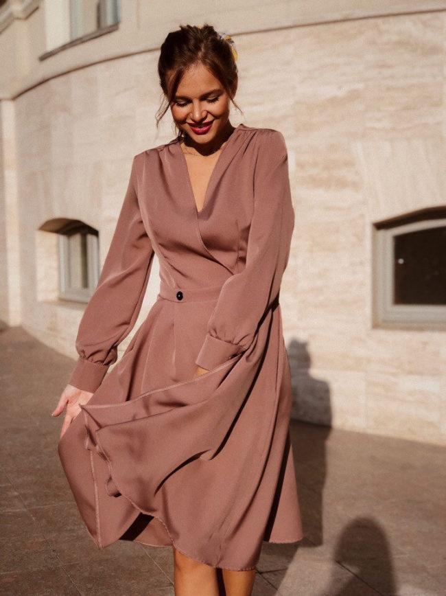 платье халат миди