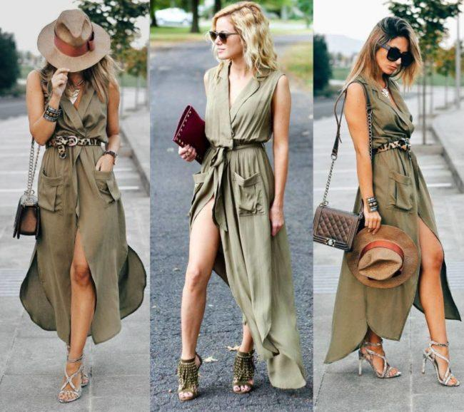 платье халат с босоножками
