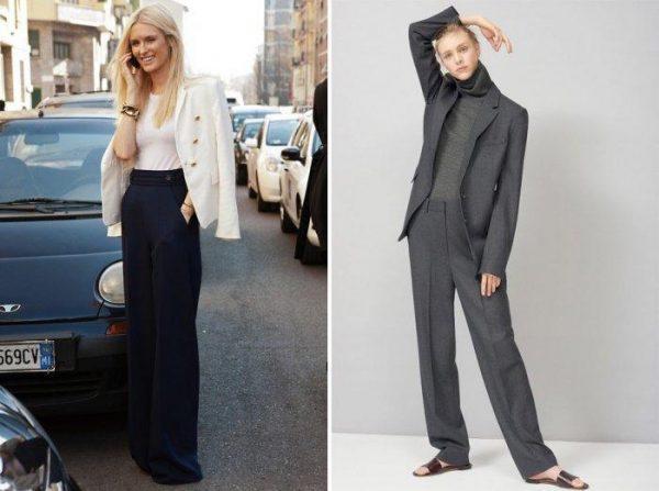 широкие брюки с пиджаком