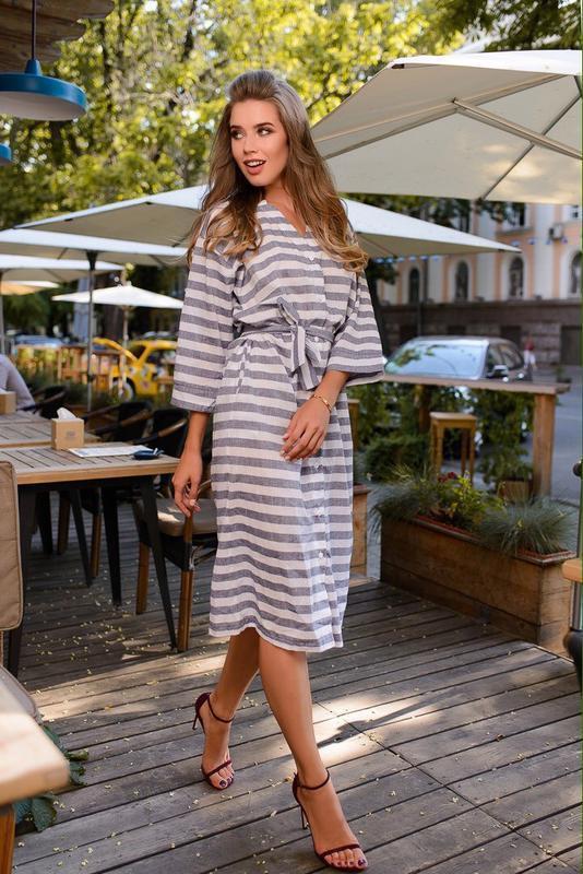 платье халат из льна
