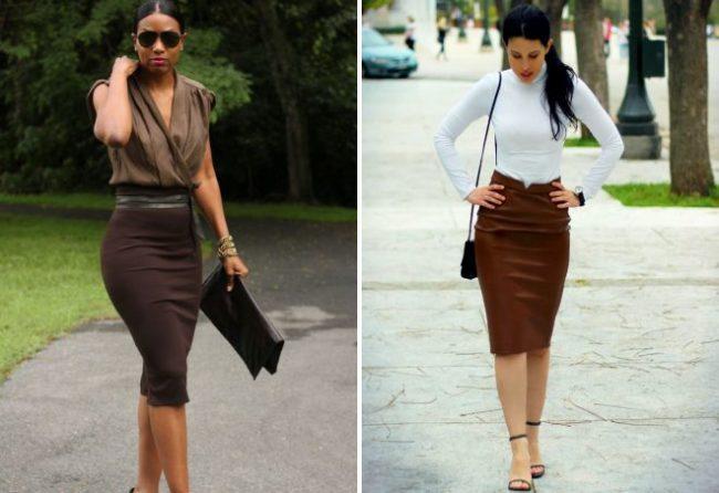 коричневая юбка карандаш