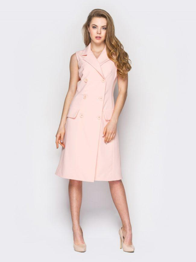 платье халат на пуговицах