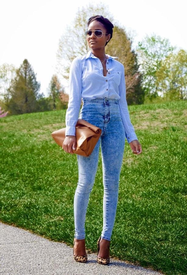 брюки с завышенной талией с сорочкой