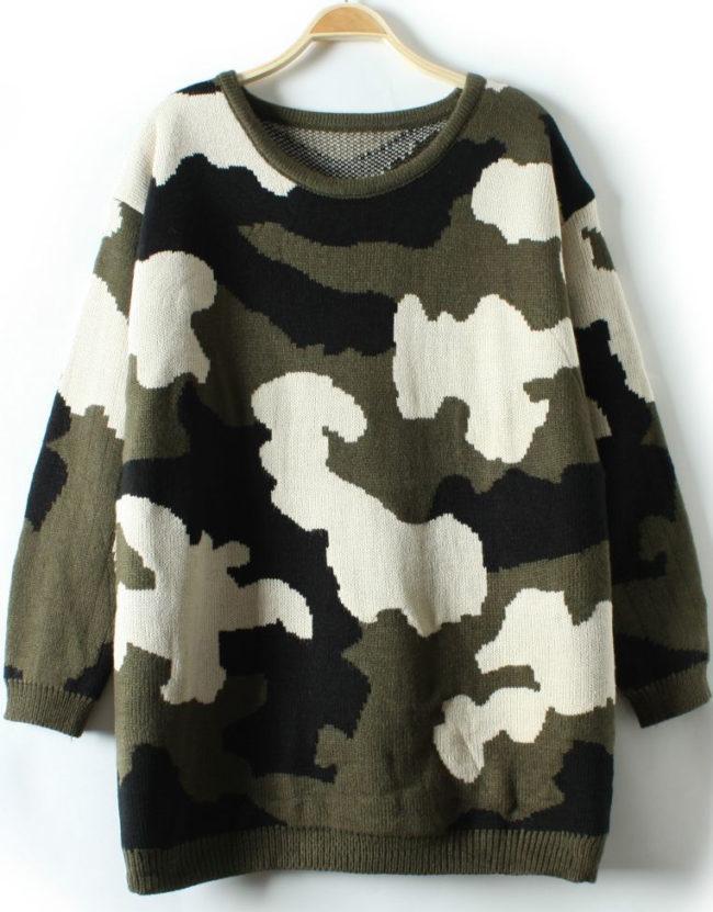 камуфляжный свитер