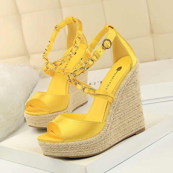 Яркая желтая летняя обувь