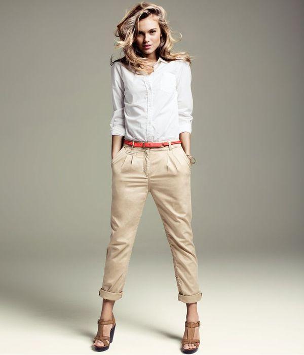 брюки чинос женские бежевые