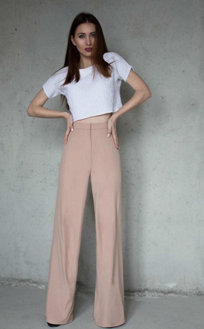 брюки с завышенной талией с завышенной посадкой