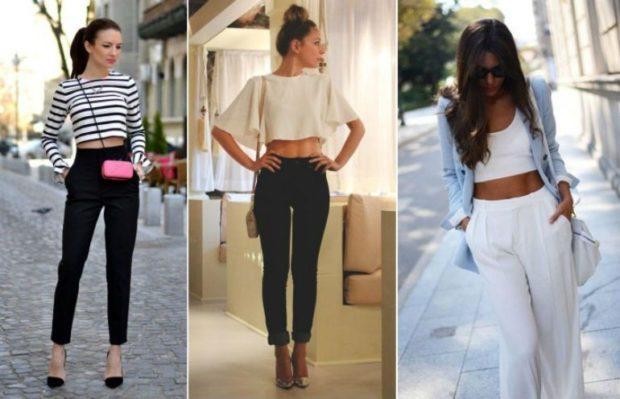 образы с брюками с завышенной талией