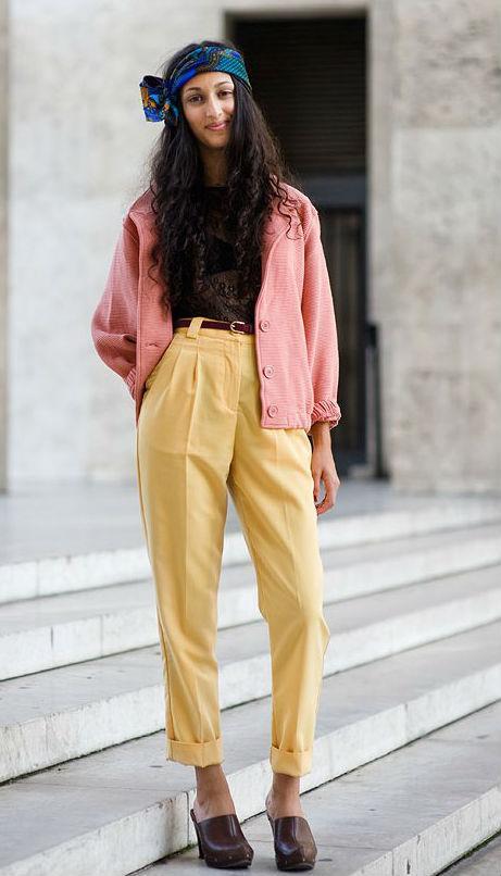 желтые женские брюки галифе
