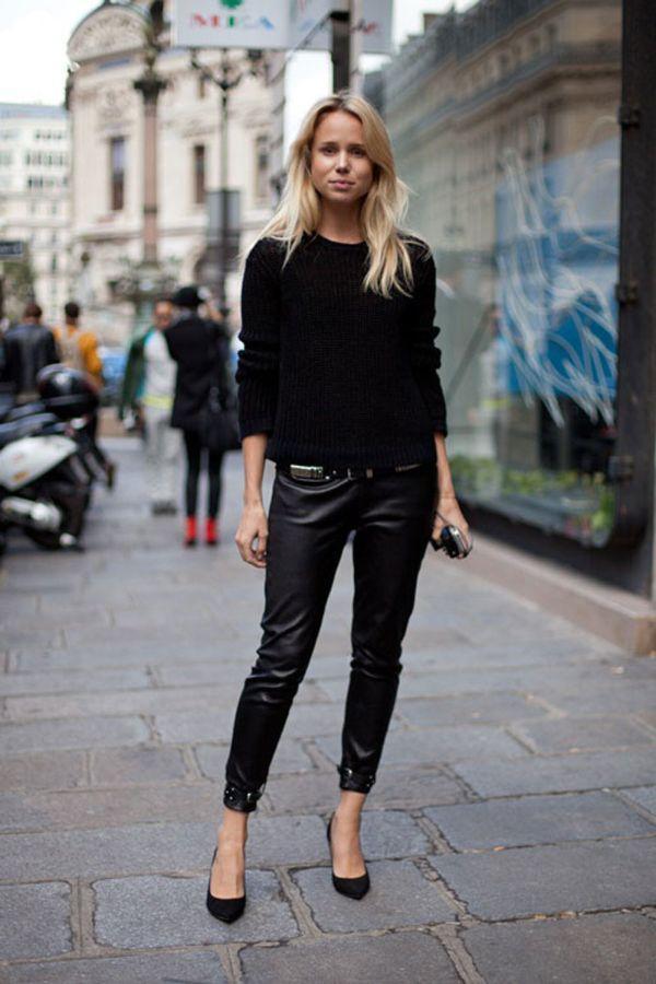 Стильные фасоны и модели черного женского свитера, с чем носить