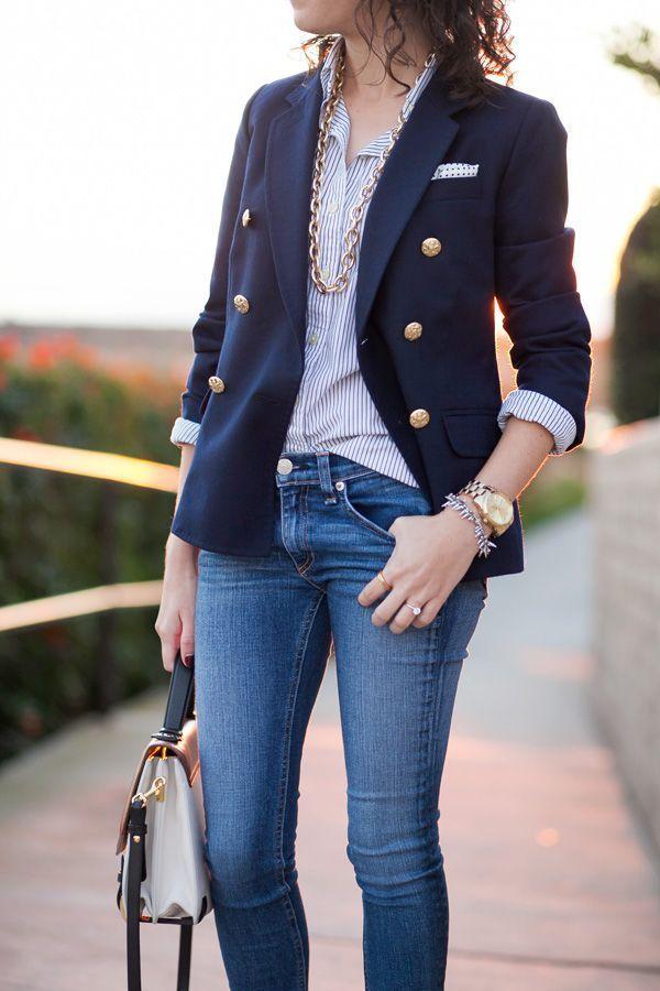 Сочетание пиджака с джинсами