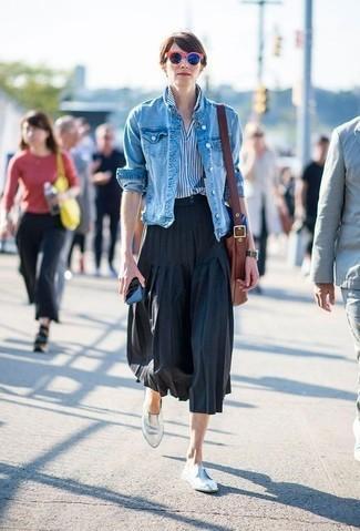 юбка миди с джинсовой курткой