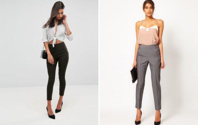 зауженные брюки с завышенной талией