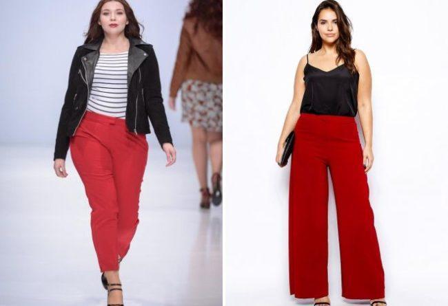 красные брюки для полных женщин