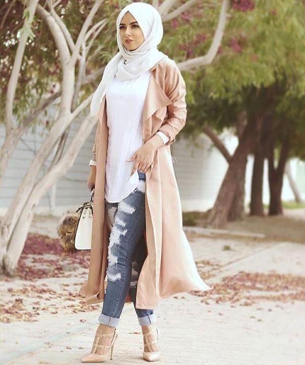 Современный хиджаб с джинсами