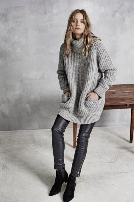 длинный свитер с горлом