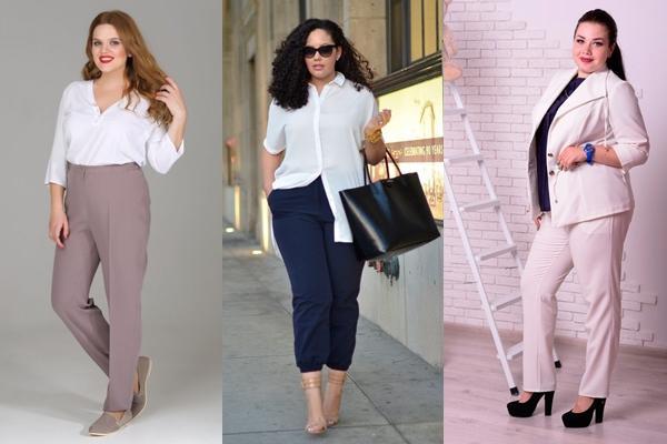луки с брюками для полных женщин