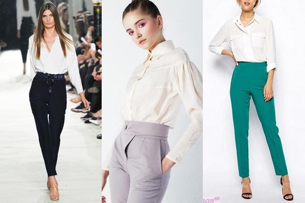 брюки с завышенной талией с блузой