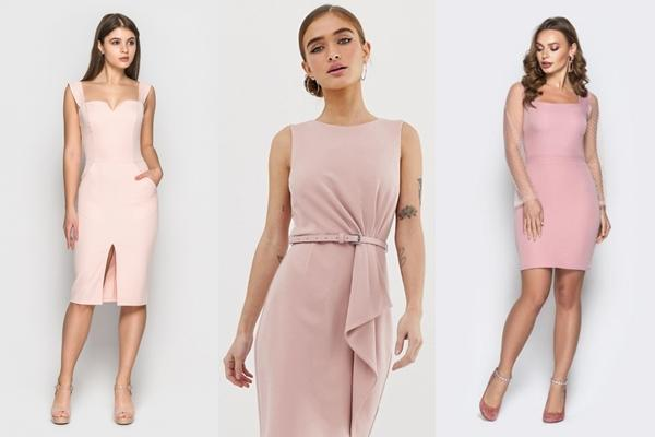 розовое платье карандаш