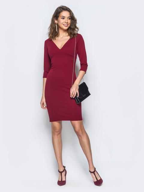 бордовое платье-карандаш